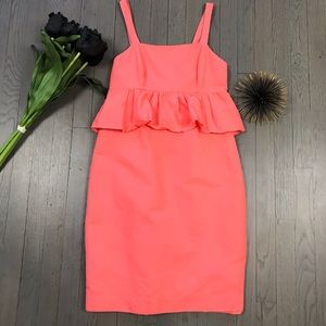 J.Crew Coral Peach Ruffle Cocktail Party Dress